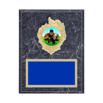 "7"" x 9"" Rugby Plaque with gold background, colored engraving plate, gold flame medallion holder and Rugby insert."