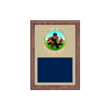 "5"" x 7"" Rugby Plaque with gold background plate, colored engraving plate, gold wreath medallion and Rugby insert."