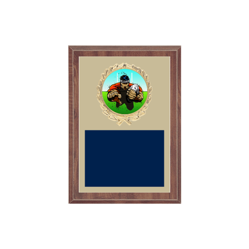 """5"""" x 7"""" Rugby Plaque with gold background plate, colored engraving plate, gold wreath medallion and Rugby insert."""
