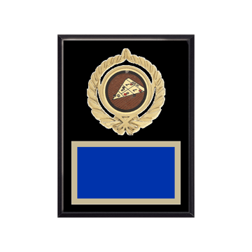 """6"""" x 8"""" Shuffleboard Plaque with gold background plate, colored engraving plate, gold open wreath medallion holder and Shuffleboard insert."""