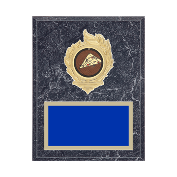 "7"" x 9"" Shuffleboard Plaque with gold background, colored engraving plate, gold flame medallion holder and Shuffleboard insert."