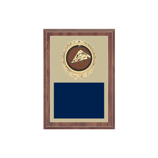 """5"""" x 7"""" Shuffleboard Plaque with gold background plate, colored engraving plate, gold wreath medallion and Shuffleboard insert."""