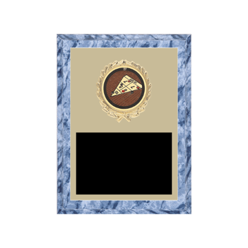 """6"""" x 8"""" Shuffleboard Plaque with gold background plate, colored engraving plate, gold wreath medallion and Shuffleboard insert."""