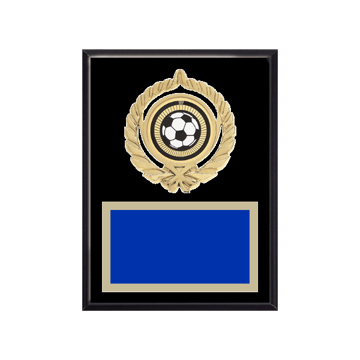"6"" x 8"" Soccer Plaque with gold background plate, colored engraving plate, gold open wreath medallion holder and Soccer insert."