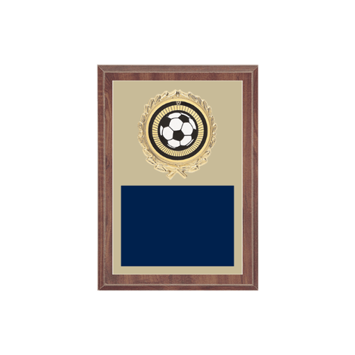 """5"""" x 7"""" Soccer Plaque with gold background plate, colored engraving plate, gold wreath medallion and Soccer insert."""