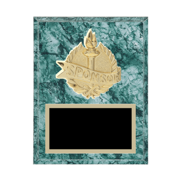 """7"""" x 9"""" Sponsor Plaque with gold background plate, colored engraving plate and gold 3D Sponsor medallion."""