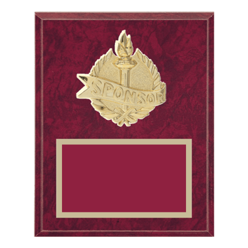 """8"""" x 10"""" Sponsor Plaque with gold background plate, colored engraving plate and gold 3D Sponsor medallion."""