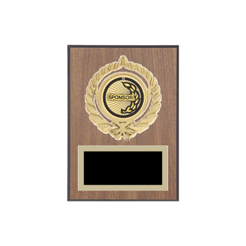 """5"""" x 7"""" Sponsor Plaque with gold background plate, colored engraving plate, gold open wreath medallion holder and Sponsor insert."""