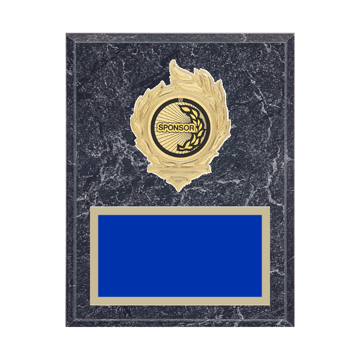 """7"""" x 9"""" Sponsor Plaque with gold background, colored engraving plate, gold flame medallion holder and Sponsor insert."""