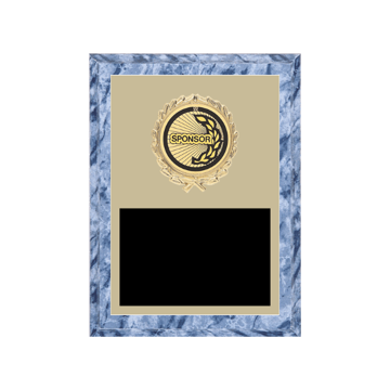 """6"""" x 8"""" Sponsor Plaque with gold background plate, colored engraving plate, gold wreath medallion and Sponsor insert."""
