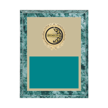 """7"""" x 9"""" Sponsor Plaque with gold background plate, colored engraving plate, gold wreath medallion and Sponsor insert."""