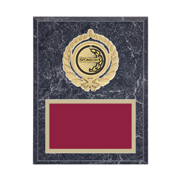 """7"""" x 9"""" Sponsor Plaque with gold background plate, colored engraving plate, gold open wreath medallion holder and Sponsor insert."""