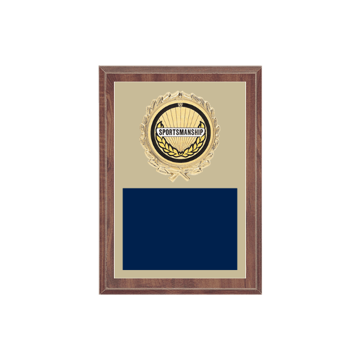 """5"""" x 7"""" Sportsmanship Plaque with gold background plate, colored engraving plate, gold wreath medallion and Sportsmanship insert."""