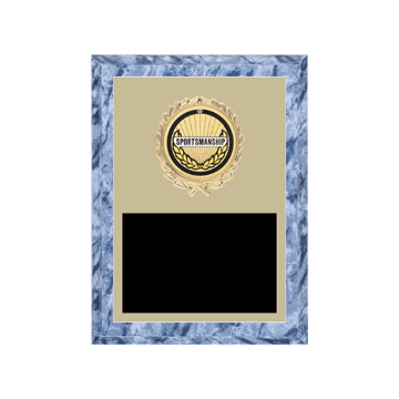"""6"""" x 8"""" Sportsmanship Plaque with gold background plate, colored engraving plate, gold wreath medallion and Sportsmanship insert."""