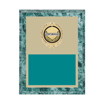 """7"""" x 9"""" Sportsmanship Plaque with gold background plate, colored engraving plate, gold wreath medallion and Sportsmanship insert."""