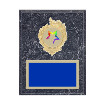 "7"" x 9"" Star Plaque with gold background, colored engraving plate, gold flame medallion holder and Star insert."
