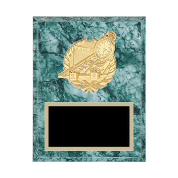 "7"" x 9"" Swimming Plaque with gold background plate, colored engraving plate and gold 3D Swimming medallion."