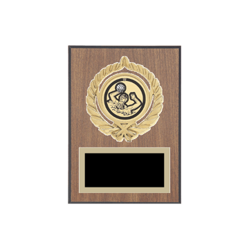 "5"" x 7"" Water Polo Plaque with gold background plate, colored engraving plate, gold open wreath medallion holder and Water Polo insert."