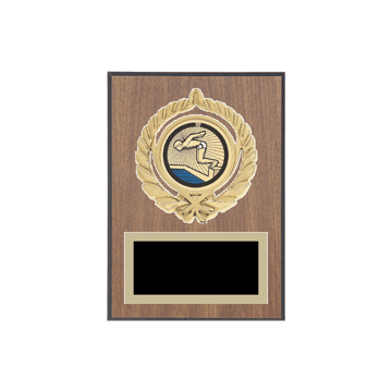 "5"" x 7"" Swimming Plaque with gold background plate, colored engraving plate, gold open wreath medallion holder and Swimming insert."