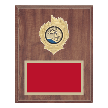 "8"" x 10"" Swimming Plaque with gold background, colored engraving plate, gold flame medallion holder and Swimming insert."