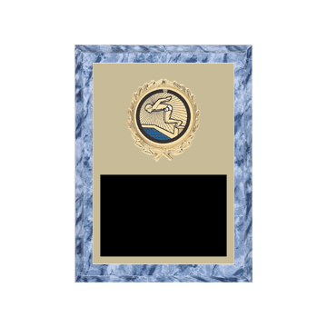 "6"" x 8"" Swimming Plaque with gold background plate, colored engraving plate, gold wreath medallion and Swimming insert."