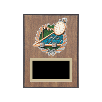 "6"" x 8"" Swimming Plaque with gold background plate, colored engraving plate and full color 3D resin Swimming medallion."
