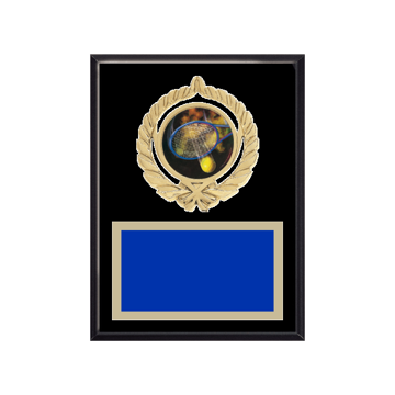 "6"" x 8"" Tennis Plaque with gold background plate, colored engraving plate, gold open wreath medallion holder and Tennis insert."