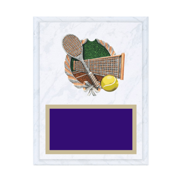 "7"" x 9"" Tennis Plaque with gold background plate, colored engraving plate and full color 3D resin Tennis medallion."