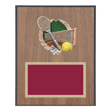 "8"" x 10"" Tennis Plaque with gold background plate, colored engraving plate and full color 3D resin Tennis medallion."