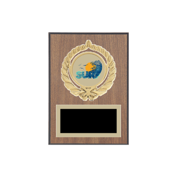 "5"" x 7"" Surfing Plaque with gold background plate, colored engraving plate, gold open wreath medallion holder and Surfing insert."
