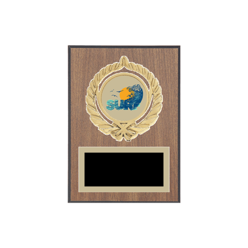 """5"""" x 7"""" Surfing Plaque with gold background plate, colored engraving plate, gold open wreath medallion holder and Surfing insert."""