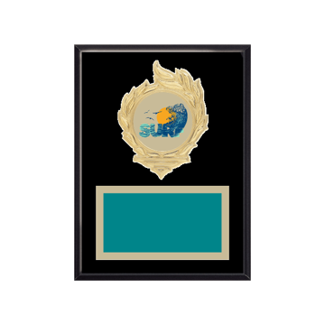 """6"""" x 8"""" Surfing Plaque with gold background, colored engraving plate, gold flame medallion holder and Surfing insert."""
