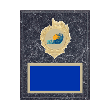 """7"""" x 9"""" Surfing Plaque with gold background, colored engraving plate, gold flame medallion holder and Surfing insert."""