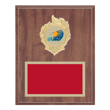"8"" x 10"" Surfing Plaque with gold background, colored engraving plate, gold flame medallion holder and Surfing insert."