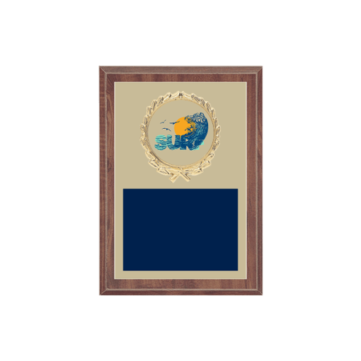 """5"""" x 7"""" Surfing Plaque with gold background plate, colored engraving plate, gold wreath medallion and Surfing insert."""