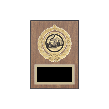 """5"""" x 7"""" Tractor Pull Plaque with gold background plate, colored engraving plate, gold open wreath medallion holder and Tractor Pull insert."""