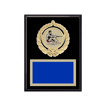 "6"" x 8"" Tug-of-War Plaque with gold background plate, colored engraving plate, gold open wreath medallion holder and Tug-of-War insert."