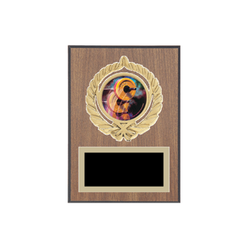 "5"" x 7"" Weightlifting Plaque with gold background plate, colored engraving plate, gold open wreath medallion holder and Weightlifting insert."