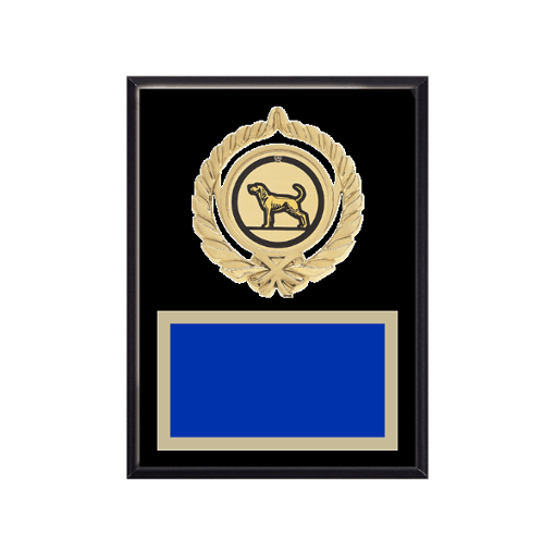 """6"""" x 8"""" Dog Plaque with gold background plate, colored engraving plate, gold open wreath medallion holder and Dog insert."""