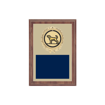 "5"" x 7"" Dog Plaque with gold background plate, colored engraving plate, gold wreath medallion and Dog insert."