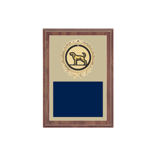 """5"""" x 7"""" Dog Plaque with gold background plate, colored engraving plate, gold wreath medallion and Dog insert."""