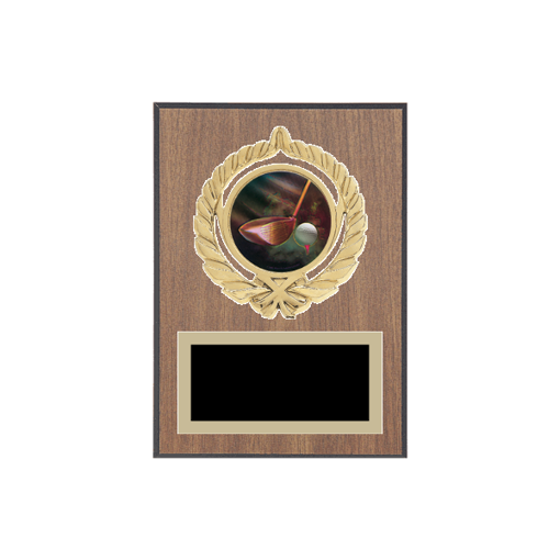 """5"""" x 7"""" Golf Plaque with gold background plate, colored engraving plate, gold open wreath medallion holder and Golf insert."""
