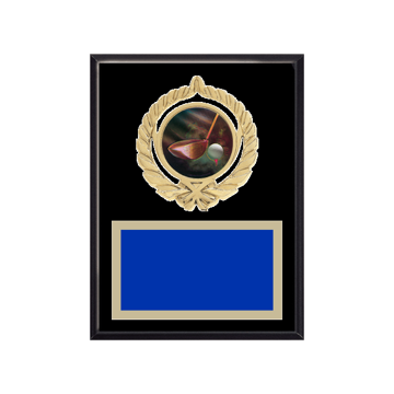 "6"" x 8"" Golf Plaque with gold background plate, colored engraving plate, gold open wreath medallion holder and Golf insert."