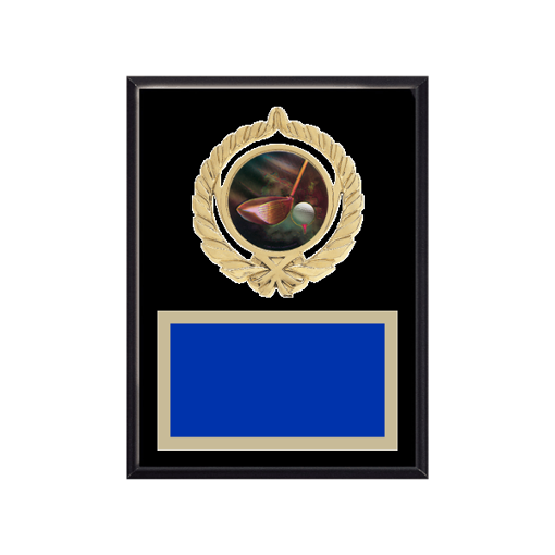 """6"""" x 8"""" Golf Plaque with gold background plate, colored engraving plate, gold open wreath medallion holder and Golf insert."""