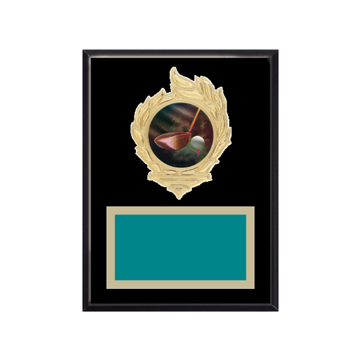 """6"""" x 8"""" Golf Plaque with gold background, colored engraving plate, gold flame medallion holder and Golf insert."""