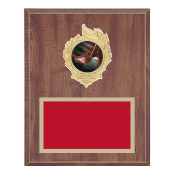 "8"" x 10"" Golf Plaque with gold background, colored engraving plate, gold flame medallion holder and Golf insert."