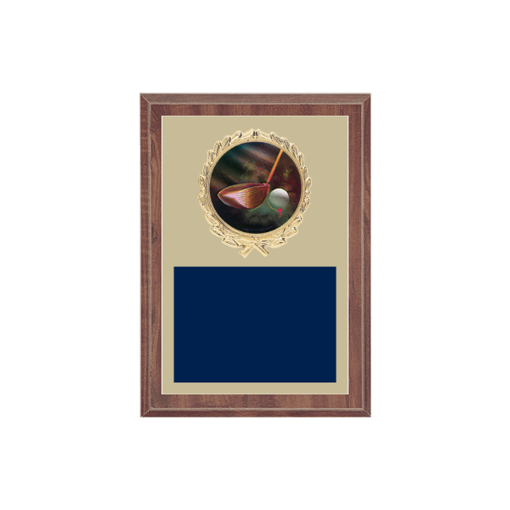 """5"""" x 7"""" Golf Plaque with gold background plate, colored engraving plate, gold wreath medallion and Golf insert."""