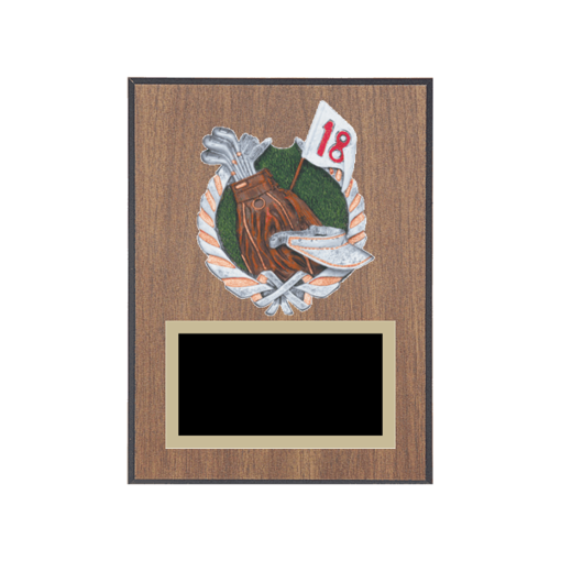 """6"""" x 8"""" Golf Plaque with gold background plate, colored engraving plate and full color 3D resin Golf medallion."""