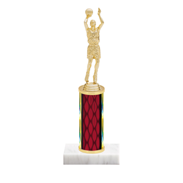 "9"" Basketball Trophy with Basketball Figurine, 4"" colored column and marble base."