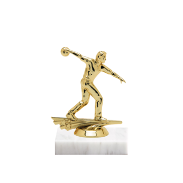 "5"" Bowling Figure on Marble Base Trophy"